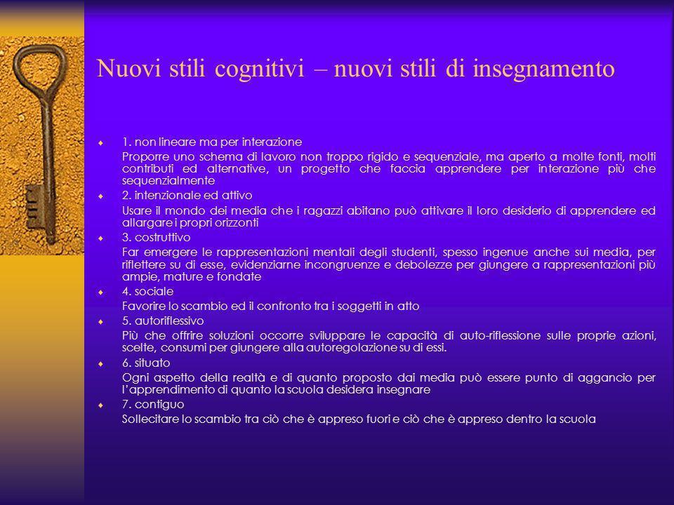 Nuovi stili cognitivi – nuovi stili di insegnamento 1.