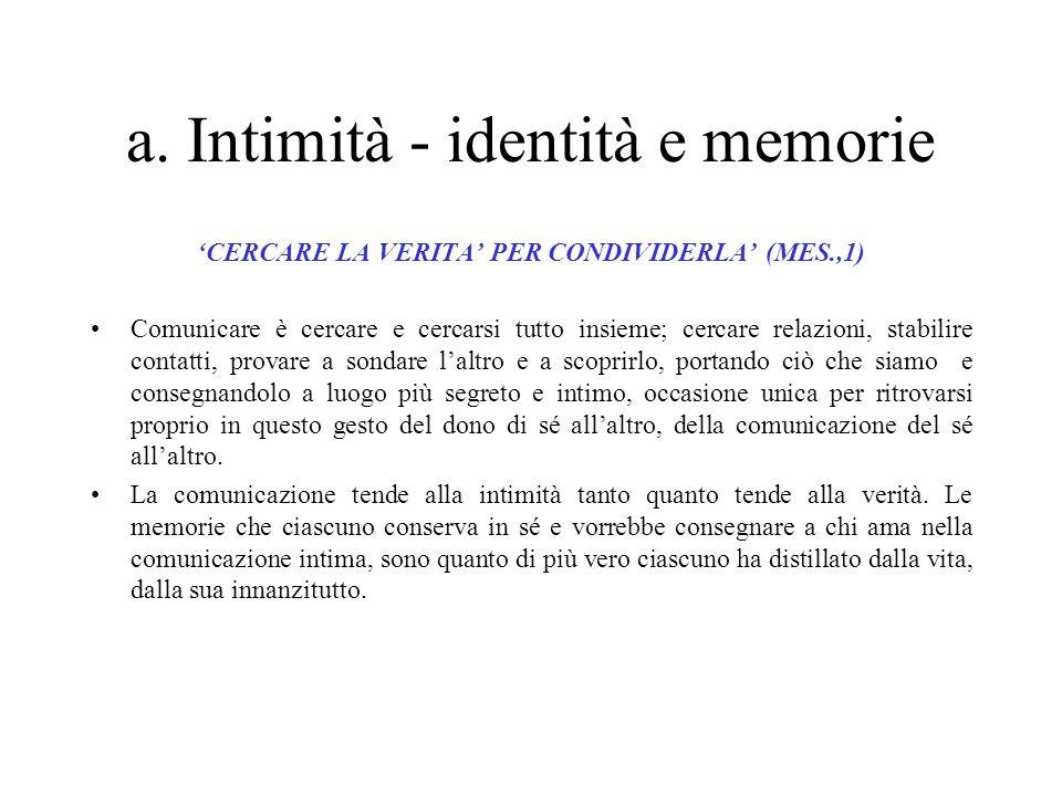1. Comunicazione e relazione -il desiderio profondo: Intimità-identità e memorie -Il destino: Andare oltre -la paura più grande: Il fraintendimento e