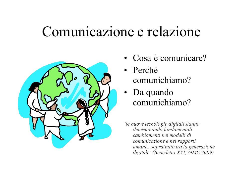 Comunicazione e relazione Cosa è comunicare.Perché comunichiamo.