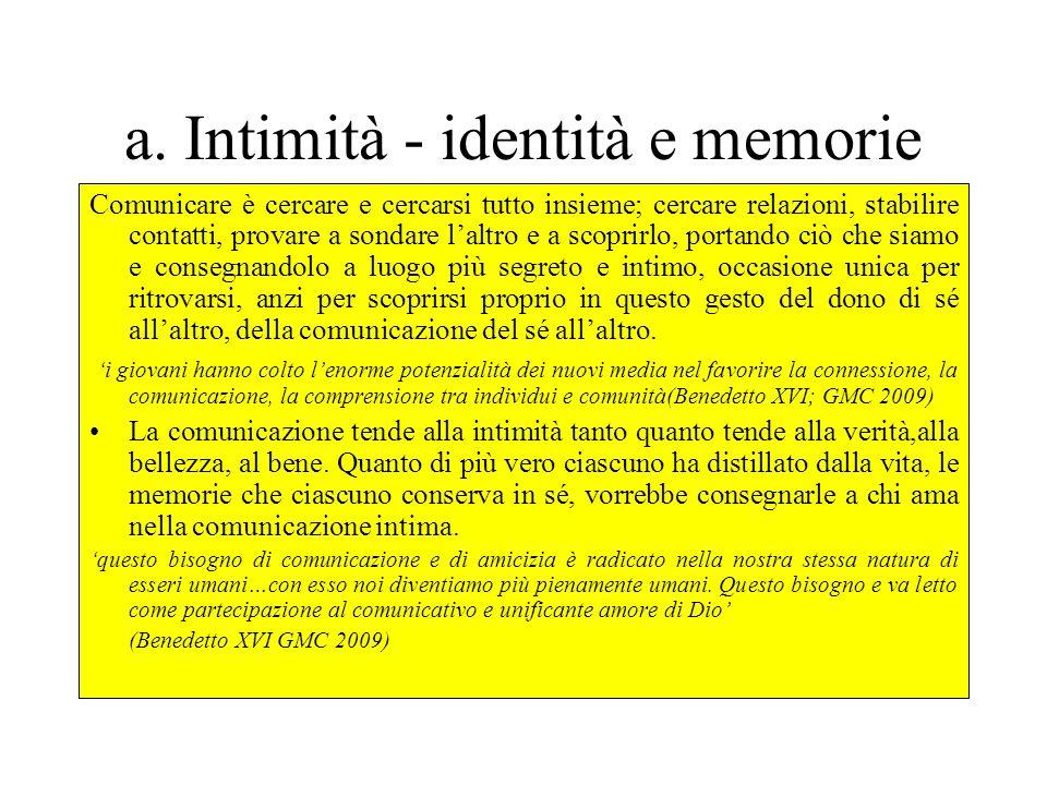Comunicazione e relazione -il desiderio profondo: Intimità-identità e memorie -Il destino: Andare oltre -la paura : Il fraintendimento e la distanza -