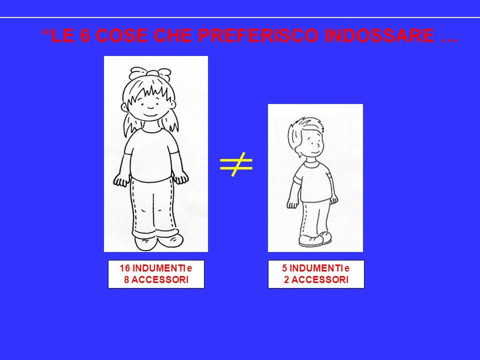 LE 6 COSE CHE PREFERISCO INDOSSARE … 16 INDUMENTI e 8 ACCESSORI 5 INDUMENTI e 2 ACCESSORI