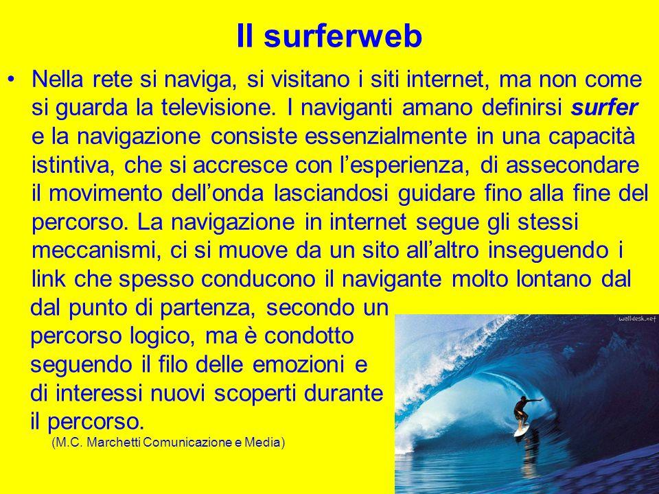 Il surferweb Nella rete si naviga, si visitano i siti internet, ma non come si guarda la televisione.