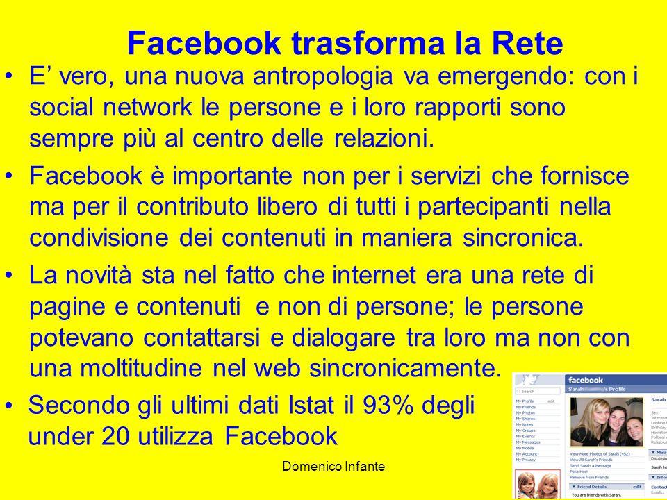 Domenico Infante18 Facebook trasforma la Rete E vero, una nuova antropologia va emergendo: con i social network le persone e i loro rapporti sono sempre più al centro delle relazioni.