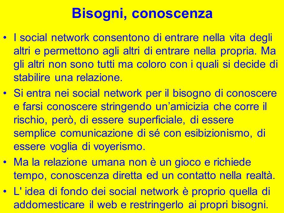 Bisogni, conoscenza I social network consentono di entrare nella vita degli altri e permettono agli altri di entrare nella propria.