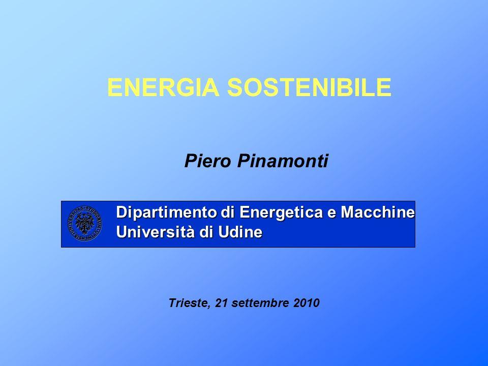 Piero Pinamonti ENERGIA SOSTENIBILE Dipartimento di Energetica e Macchine Università di Udine Trieste, 21 settembre 2010