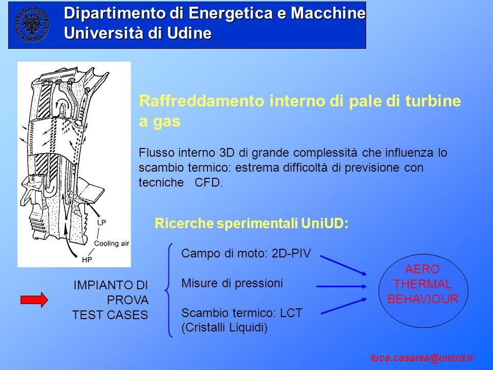 Raffreddamento interno di pale di turbine a gas Flusso interno 3D di grande complessità che influenza lo scambio termico: estrema difficoltà di previs