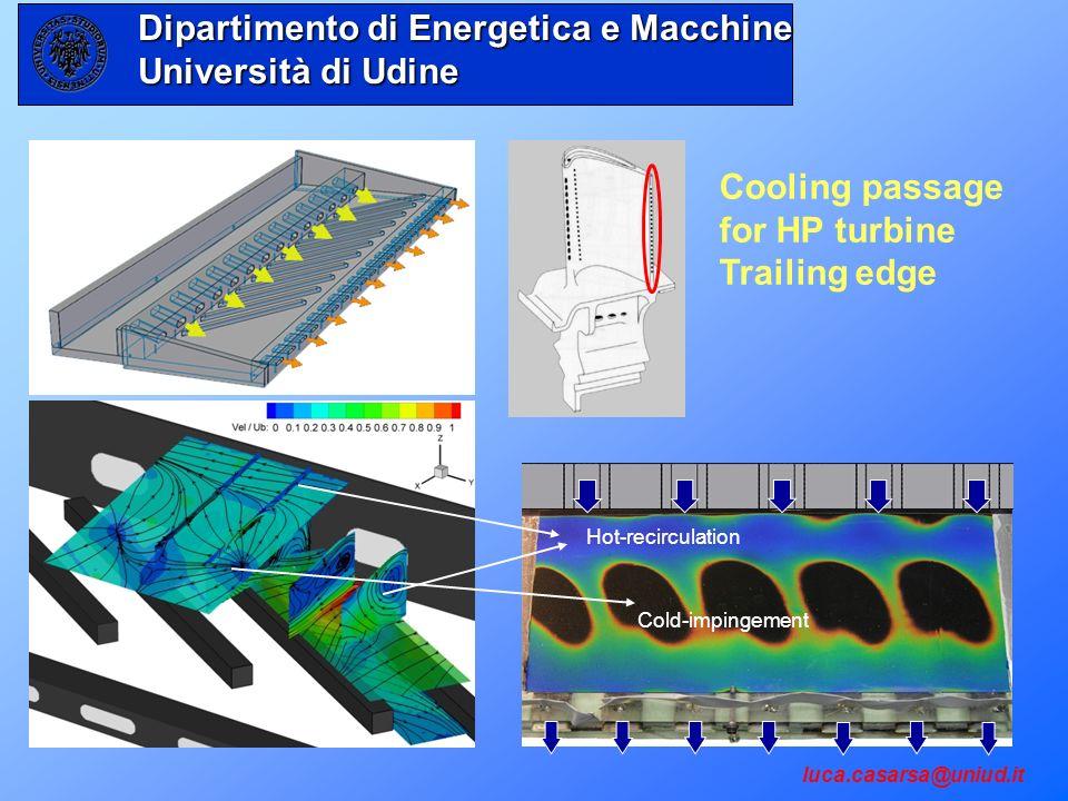 Cooling passage for HP turbine Trailing edge luca.casarsa@uniud.it Hot-recirculation Cold-impingement Dipartimento di Energetica e Macchine Università