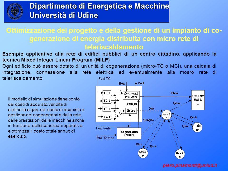 Ottimizzazione del progetto e della gestione di un impianto di co- generazione di energia distribuita con micro rete di teleriscaldamento Il modello d