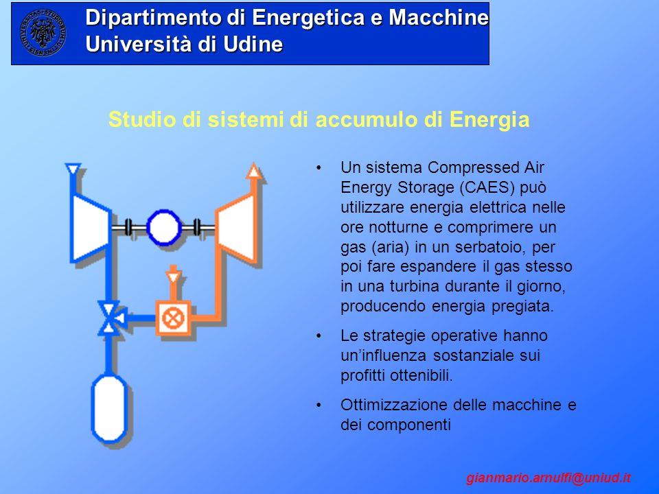 Studio di sistemi di accumulo di Energia Un sistema Compressed Air Energy Storage (CAES) può utilizzare energia elettrica nelle ore notturne e comprim