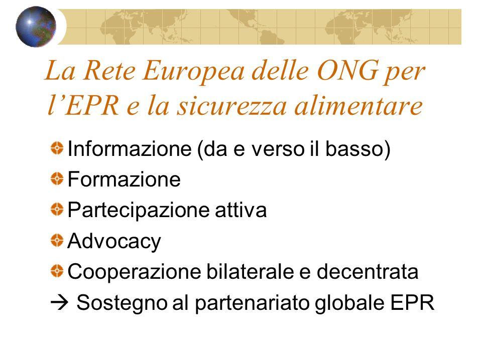 La Rete Europea delle ONG per lEPR e la sicurezza alimentare Informazione (da e verso il basso) Formazione Partecipazione attiva Advocacy Cooperazione bilaterale e decentrata Sostegno al partenariato globale EPR