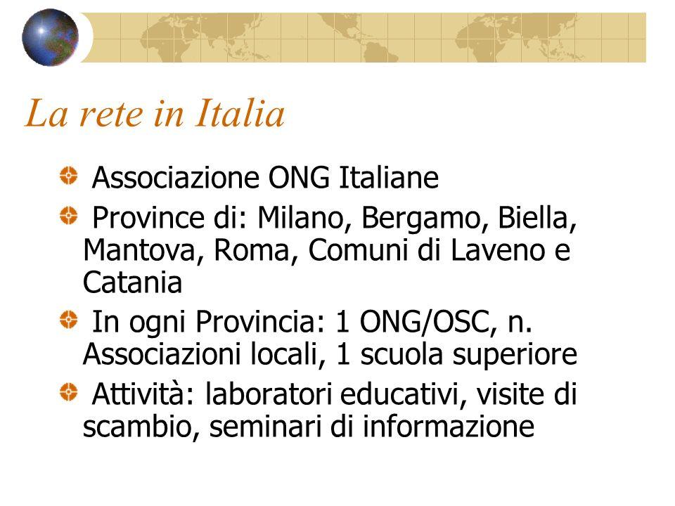 La rete in Italia Associazione ONG Italiane Province di: Milano, Bergamo, Biella, Mantova, Roma, Comuni di Laveno e Catania In ogni Provincia: 1 ONG/OSC, n.