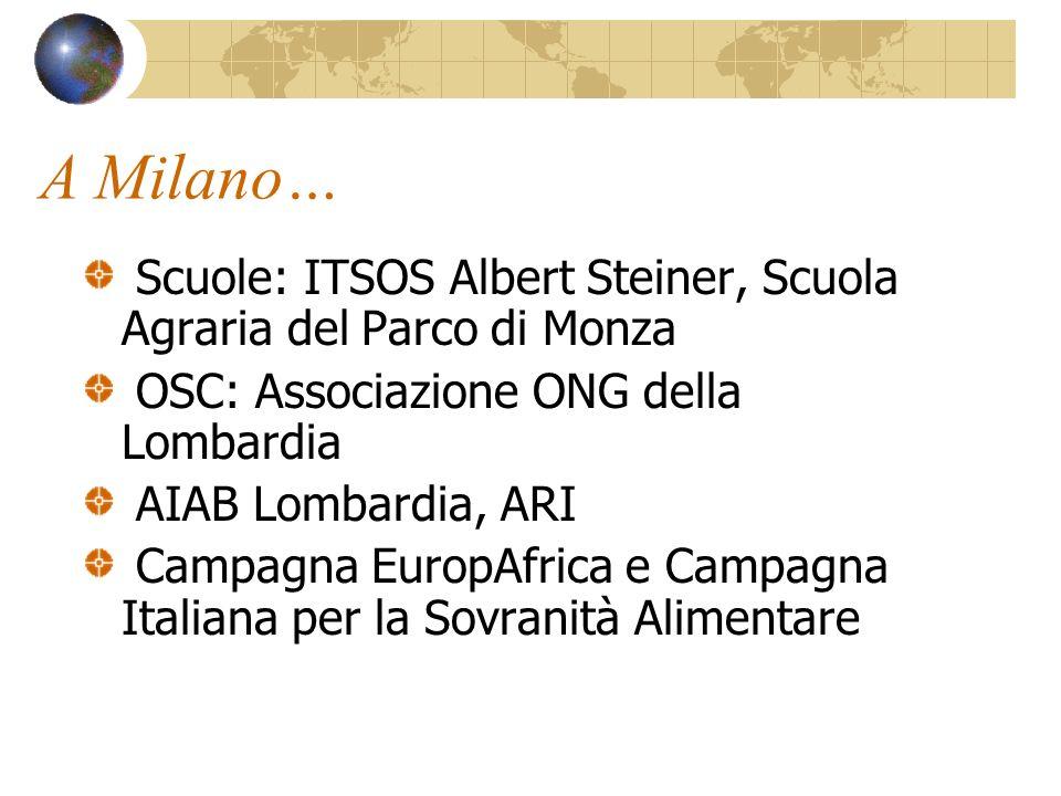 A Milano… Scuole: ITSOS Albert Steiner, Scuola Agraria del Parco di Monza OSC: Associazione ONG della Lombardia AIAB Lombardia, ARI Campagna EuropAfrica e Campagna Italiana per la Sovranità Alimentare