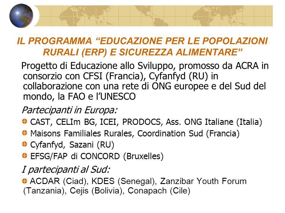 IL PROGRAMMA EDUCAZIONE PER LE POPOLAZIONI RURALI (ERP) E SICUREZZA ALIMENTARE Progetto di Educazione allo Sviluppo, promosso da ACRA in consorzio con CFSI (Francia), Cyfanfyd (RU) in collaborazione con una rete di ONG europee e del Sud del mondo, la FAO e lUNESCO Partecipanti in Europa: CAST, CELIm BG, ICEI, PRODOCS, Ass.