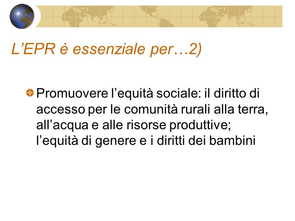 LEPR è essenziale per…2) Promuovere lequità sociale: il diritto di accesso per le comunità rurali alla terra, allacqua e alle risorse produttive; lequità di genere e i diritti dei bambini