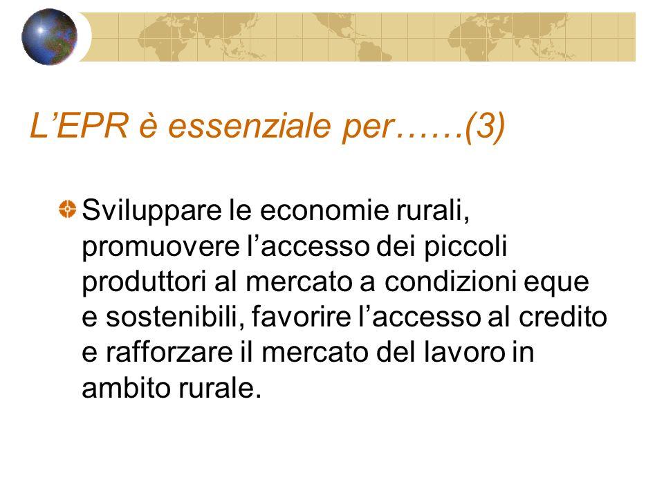 LEPR è essenziale per……(3) Sviluppare le economie rurali, promuovere laccesso dei piccoli produttori al mercato a condizioni eque e sostenibili, favorire laccesso al credito e rafforzare il mercato del lavoro in ambito rurale.
