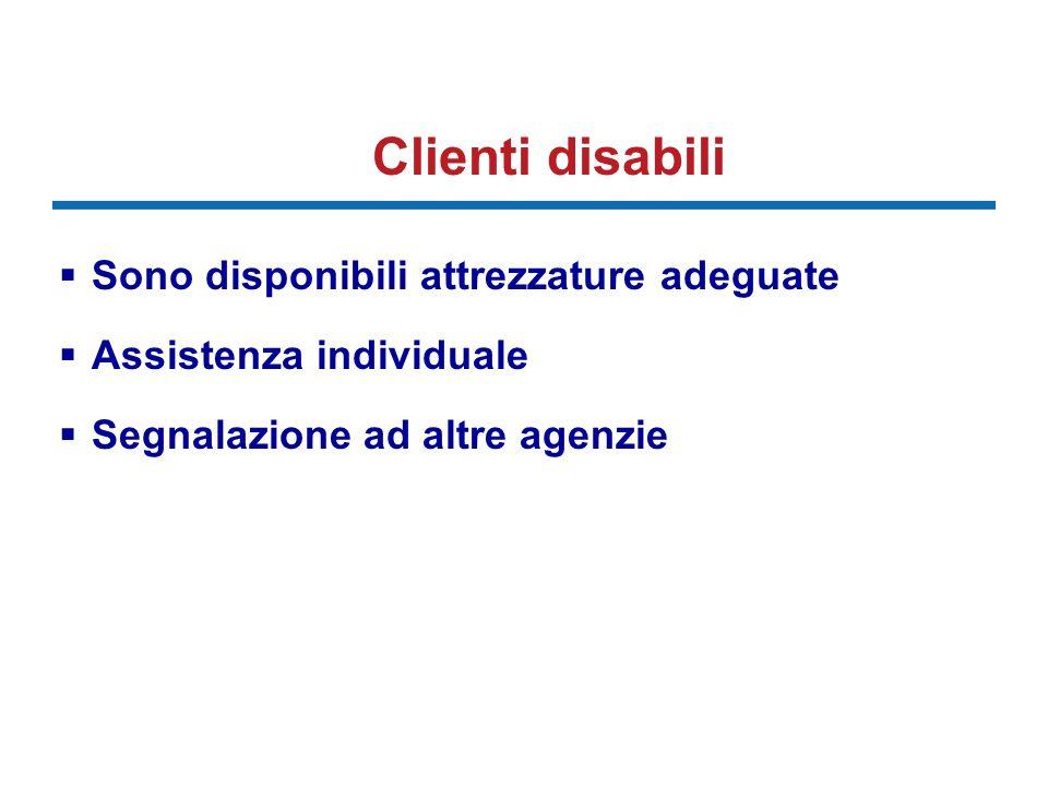 Clienti disabili Sono disponibili attrezzature adeguate Assistenza individuale Segnalazione ad altre agenzie