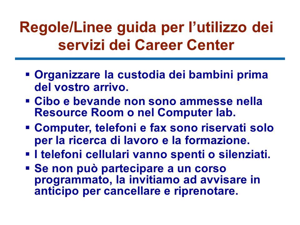 Regole/Linee guida per lutilizzo dei servizi dei Career Center Organizzare la custodia dei bambini prima del vostro arrivo.