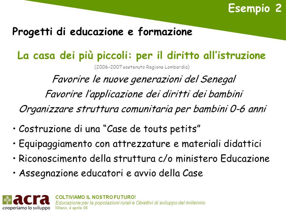 COLTIVIAMO IL NOSTRO FUTURO! Educazione per la popolazioni rurali e Obiettivi di sviluppo del millennio Milano, 4 aprile 06 La casa dei più piccoli: p