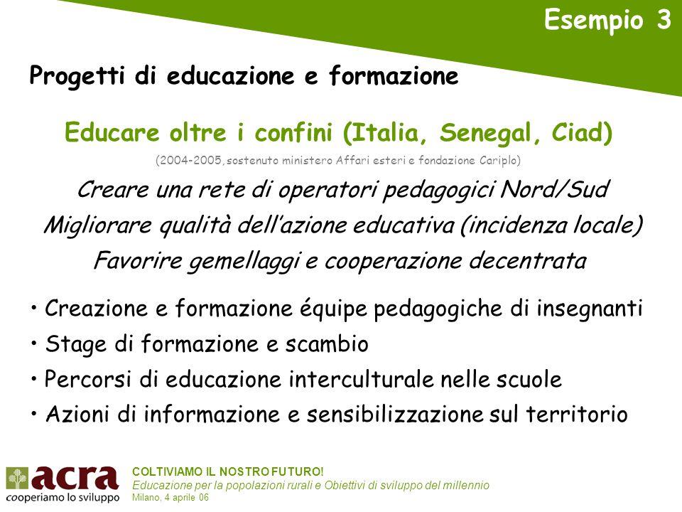 COLTIVIAMO IL NOSTRO FUTURO! Educazione per la popolazioni rurali e Obiettivi di sviluppo del millennio Milano, 4 aprile 06 Educare oltre i confini (I