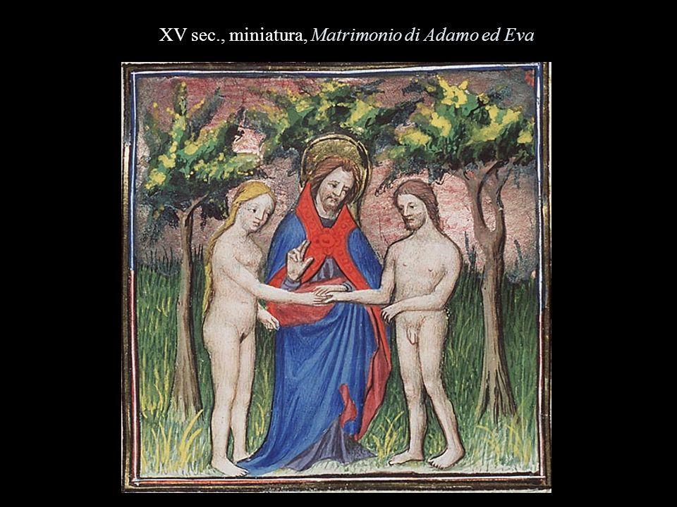XV sec., miniatura, Matrimonio di Adamo ed Eva