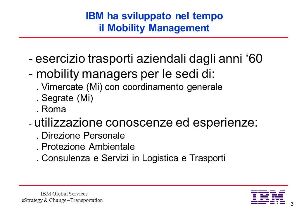 3 IBM Global Services eStrategy & Change –Transportation IBM ha sviluppato nel tempo il Mobility Management - esercizio trasporti aziendali dagli anni 60 - mobility managers per le sedi di:.