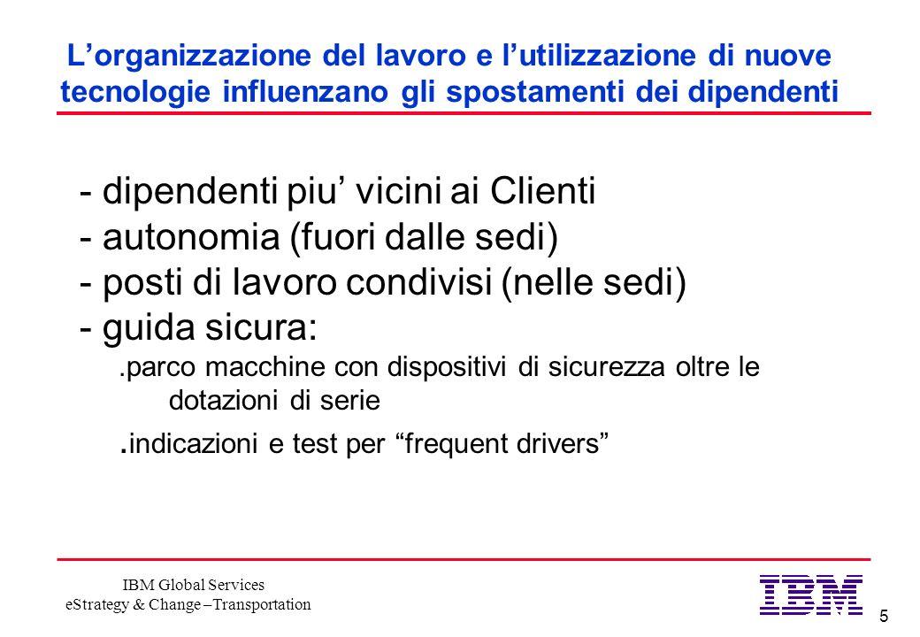 5 IBM Global Services eStrategy & Change –Transportation Lorganizzazione del lavoro e lutilizzazione di nuove tecnologie influenzano gli spostamenti d