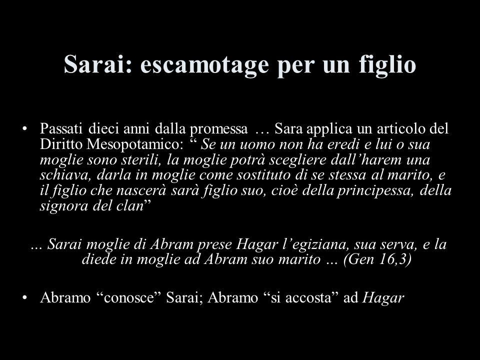 Sarai: escamotage per un figlio Passati dieci anni dalla promessa … Sara applica un articolo del Diritto Mesopotamico: Se un uomo non ha eredi e lui o