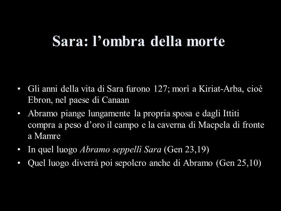 Sara: lombra della morte Gli anni della vita di Sara furono 127; morì a Kiriat-Arba, cioè Ebron, nel paese di Canaan Abramo piange lungamente la propr