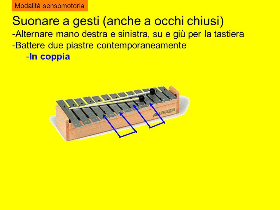 Suonare a gesti (anche a occhi chiusi) -Alternare mano destra e sinistra, su e giù per la tastiera -Battere due piastre contemporaneamente -In coppia Modalità sensomotoria