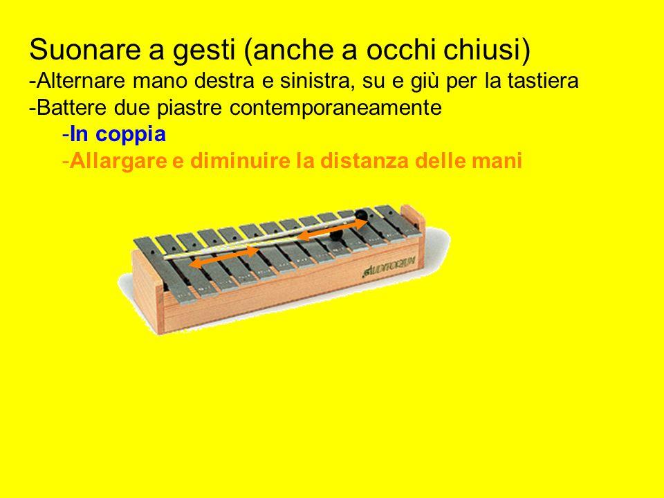 Suonare a gesti (anche a occhi chiusi) -Alternare mano destra e sinistra, su e giù per la tastiera -Battere due piastre contemporaneamente -In coppia -Allargare e diminuire la distanza delle mani