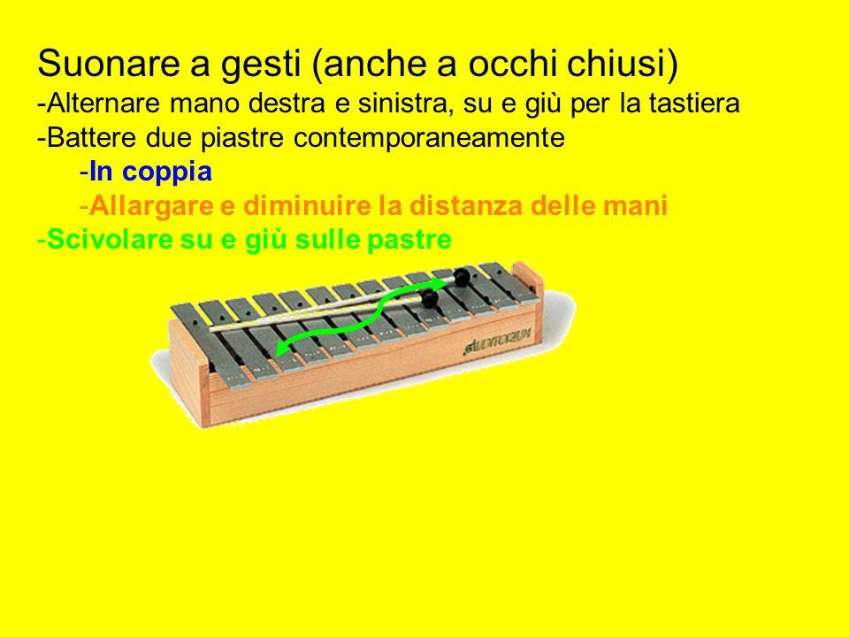 Suonare a gesti (anche a occhi chiusi) -Alternare mano destra e sinistra, su e giù per la tastiera -Battere due piastre contemporaneamente -In coppia -Allargare e diminuire la distanza delle mani -Scivolare su e giù sulle pastre