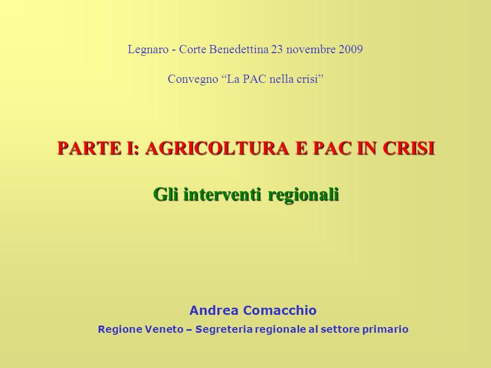 Legnaro - Corte Benedettina 23 novembre 2009 Convegno La PAC nella crisi PARTE I: AGRICOLTURA E PAC IN CRISI Gli interventi regionali Andrea Comacchio Regione Veneto – Segreteria regionale al settore primario