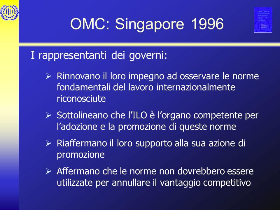 OMC: Singapore 1996 I rappresentanti dei governi: Rinnovano il loro impegno ad osservare le norme fondamentali del lavoro internazionalmente riconosci
