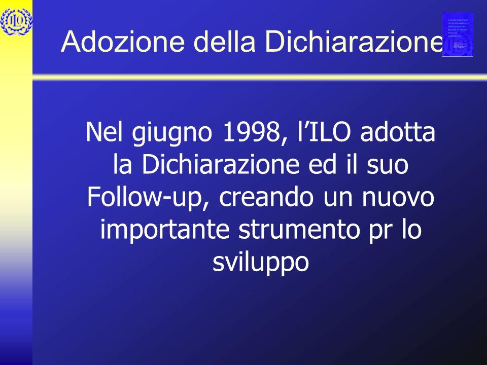 Adozione della Dichiarazione Nel giugno 1998, lILO adotta la Dichiarazione ed il suo Follow-up, creando un nuovo importante strumento pr lo sviluppo