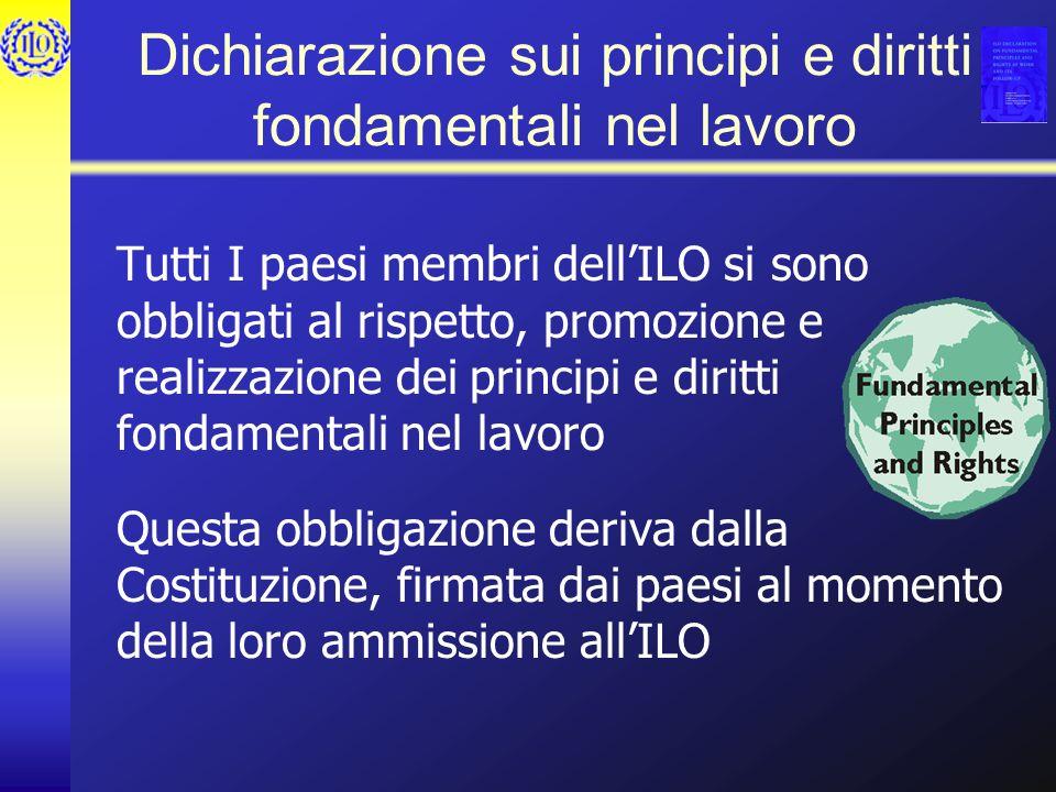 Dichiarazione sui principi e diritti fondamentali nel lavoro Tutti I paesi membri dellILO si sono obbligati al rispetto, promozione e realizzazione de