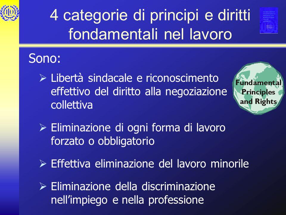 4 categorie di principi e diritti fondamentali nel lavoro Libertà sindacale e riconoscimento effettivo del diritto alla negoziazione collettiva Eliminazione di ogni forma di lavoro forzato o obbligatorio Effettiva eliminazione del lavoro minorile Eliminazione della discriminazione nellimpiego e nella professione Sono:
