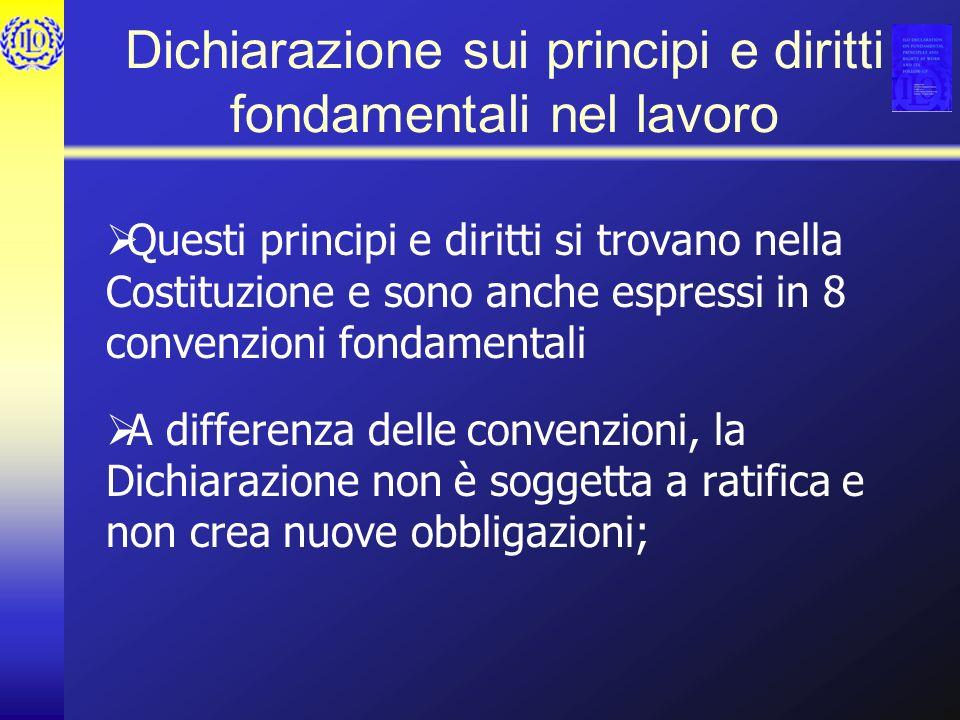 Dichiarazione sui principi e diritti fondamentali nel lavoro Questi principi e diritti si trovano nella Costituzione e sono anche espressi in 8 convenzioni fondamentali A differenza delle convenzioni, la Dichiarazione non è soggetta a ratifica e non crea nuove obbligazioni;