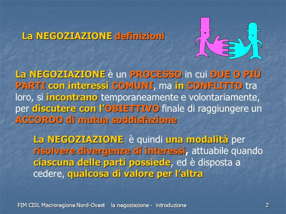 FIM CISL Macroregione Nord-Ovest la negoziazione - introduzione 2 La NEGOZIAZIONE definizioni La NEGOZIAZIONEPROCESSODUE O PIÙ PARTI con interessi COM