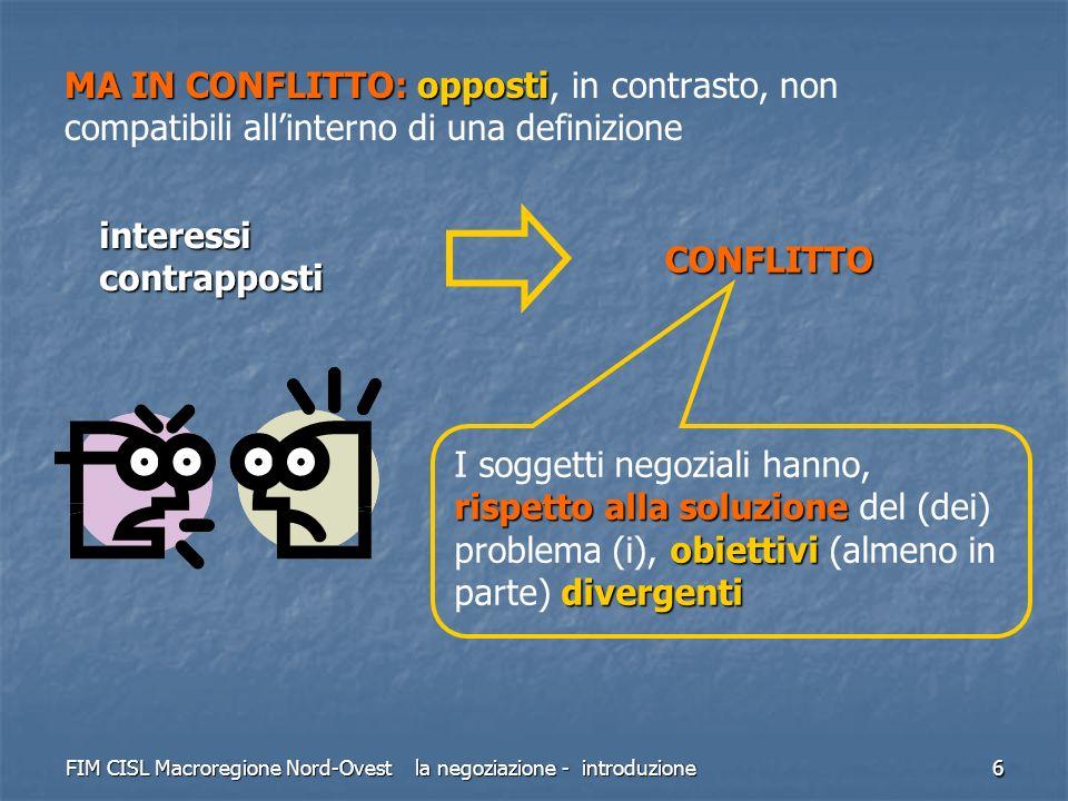 FIM CISL Macroregione Nord-Ovest la negoziazione - introduzione 7 NEGOZIARE SERVE A RISOLVERE I CONFLITTI CONFLITTO negoziazione metodoevoluto per risolvereUNICO valore aggiunto per entrambe Alla base di ogni negoziato vi è un CONFLITTO di interessi tra le parti in causa; la negoziazione è un metodo di coordinamento più evoluto, sviluppato dalluomo, per risolvere i conflitti ed è lUNICO che può creare valore aggiunto per entrambe le parti Altri metodi per dirimere i conflitti sono: LOTTA LOTTA chi prevale decide (guerre, scioperi, serrate) AUTORITÀ AUTORITÀ decide un capo (re, giudice) NORME NORME decidono le regole (leggi, regole)