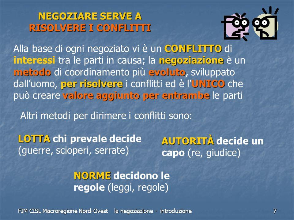 FIM CISL Macroregione Nord-Ovest la negoziazione - introduzione 7 NEGOZIARE SERVE A RISOLVERE I CONFLITTI CONFLITTO negoziazione metodoevoluto per ris