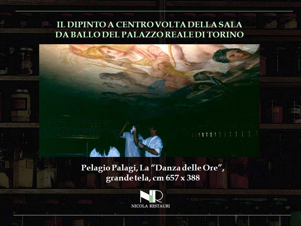 IL DIPINTO A CENTRO VOLTA DELLA SALA DA BALLO DEL PALAZZO REALE DI TORINO Pelagio Palagi, La Danza delle Ore, grande tela, cm 657 x 388