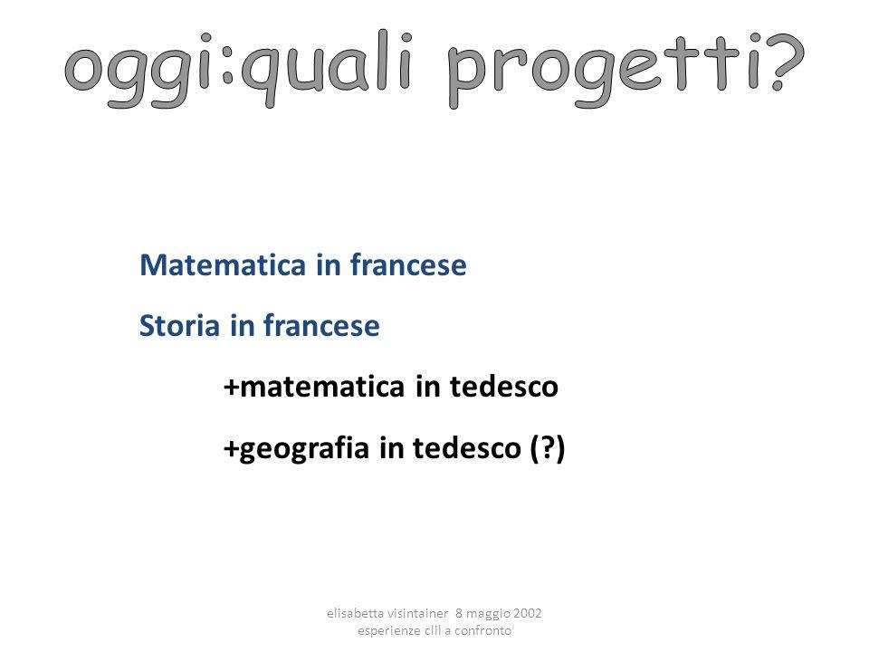 elisabetta visintainer 8 maggio 2002 esperienze clil a confronto Matematica in francese Storia in francese +matematica in tedesco +geografia in tedesco (?)