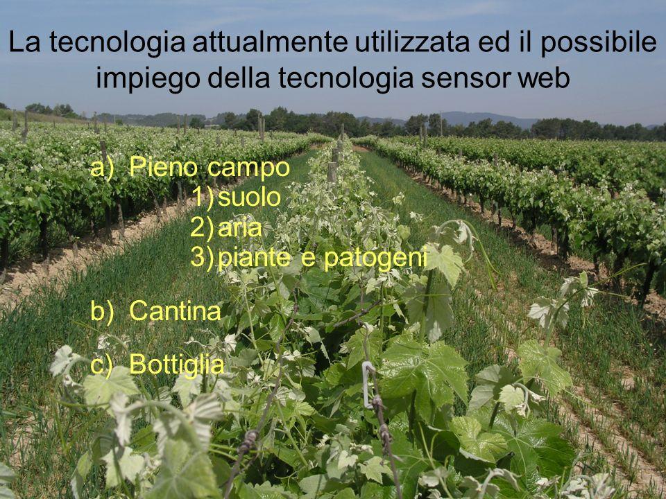 La tecnologia attualmente utilizzata ed il possibile impiego della tecnologia sensor web a)Pieno campo 1)suolo 2)aria 3)piante e patogeni b)Cantina c)Bottiglia
