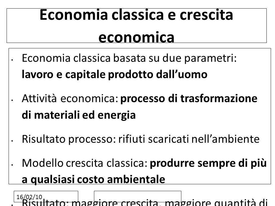 16/02/10 Economia classica e crescita economica Economia classica basata su due parametri: lavoro e capitale prodotto dalluomo Attività economica: pro
