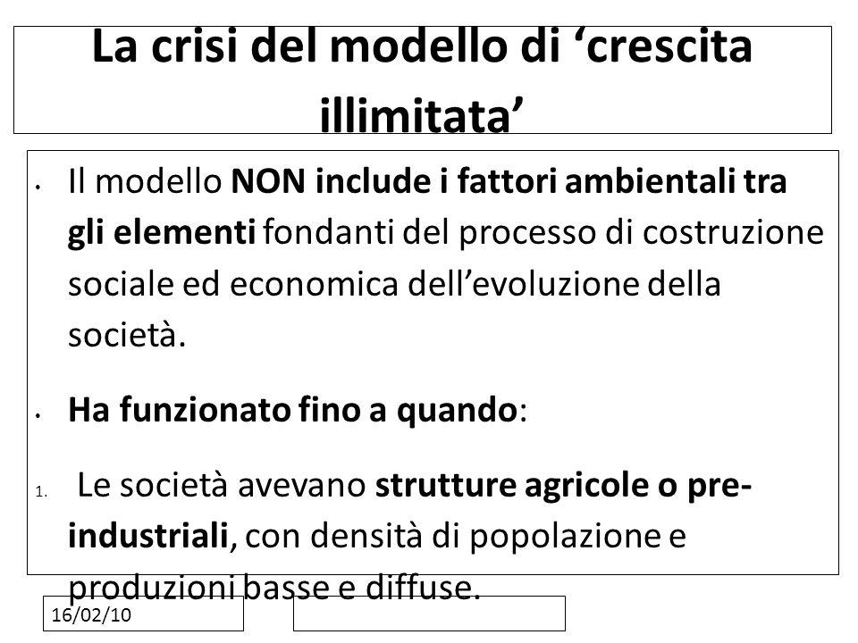 16/02/10 La crisi del modello di crescita illimitata Il modello NON include i fattori ambientali tra gli elementi fondanti del processo di costruzione