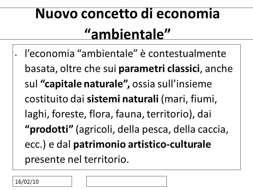16/02/10 Nuovo concetto di economia ambientale leconomia ambientale è contestualmente basata, oltre che sui parametri classici, anche sul capitale nat