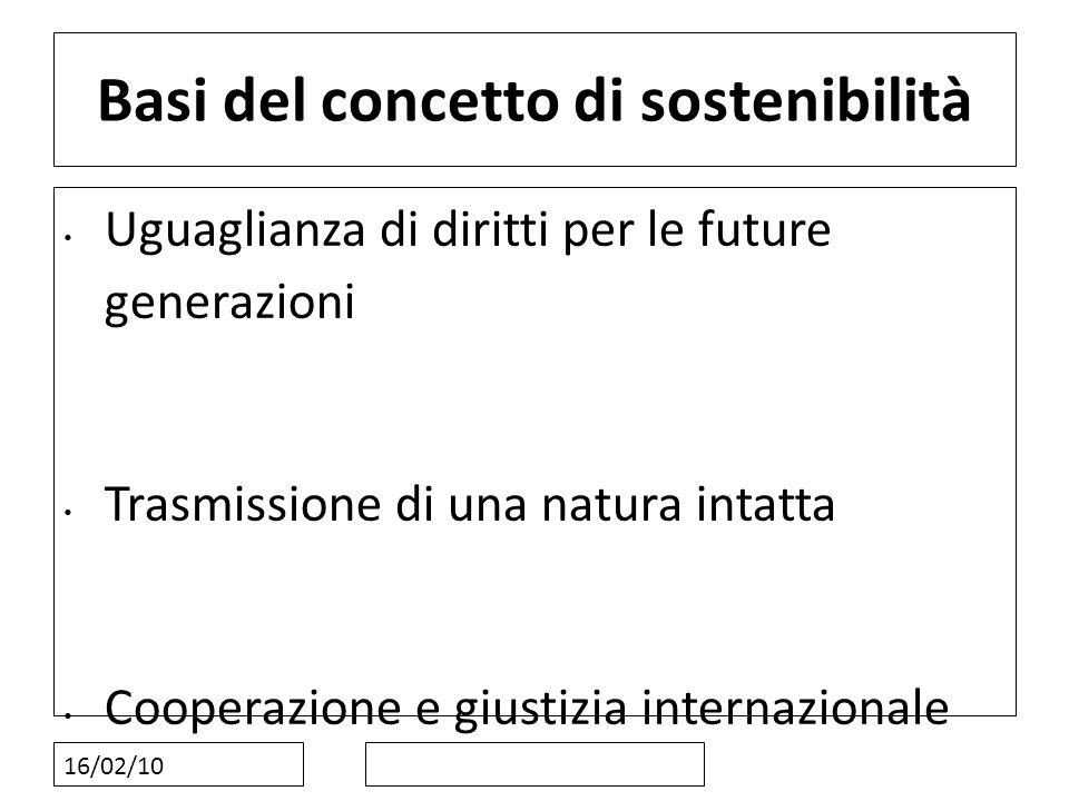 16/02/10 Basi del concetto di sostenibilità Uguaglianza di diritti per le future generazioni Trasmissione di una natura intatta Cooperazione e giustiz