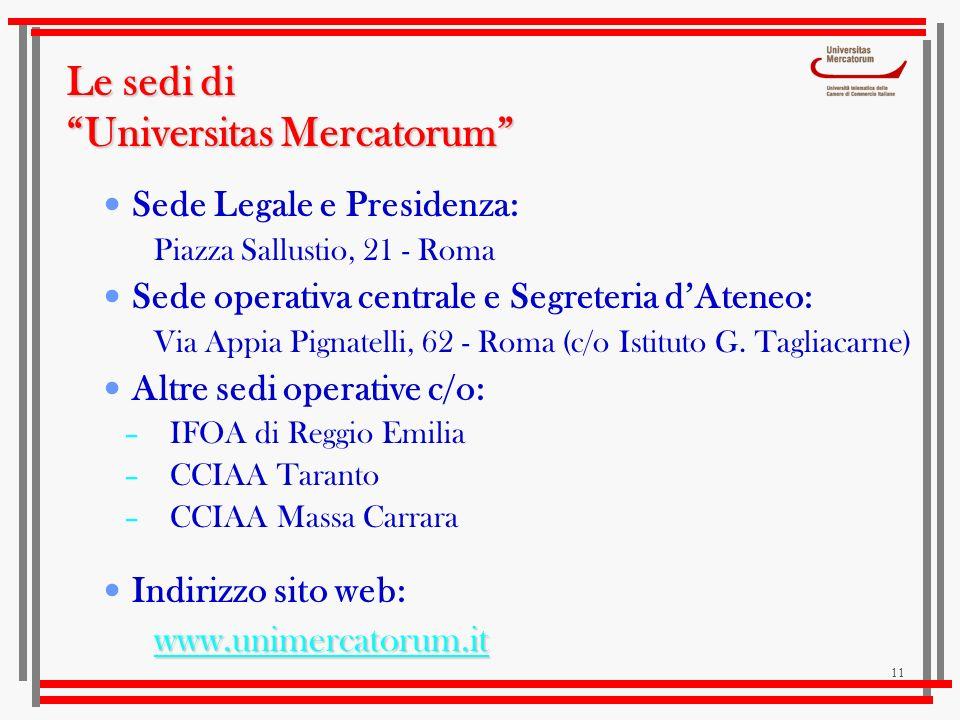 11 Le sedi di Universitas Mercatorum Sede Legale e Presidenza: Piazza Sallustio, 21 - Roma Sede operativa centrale e Segreteria dAteneo: Via Appia Pig