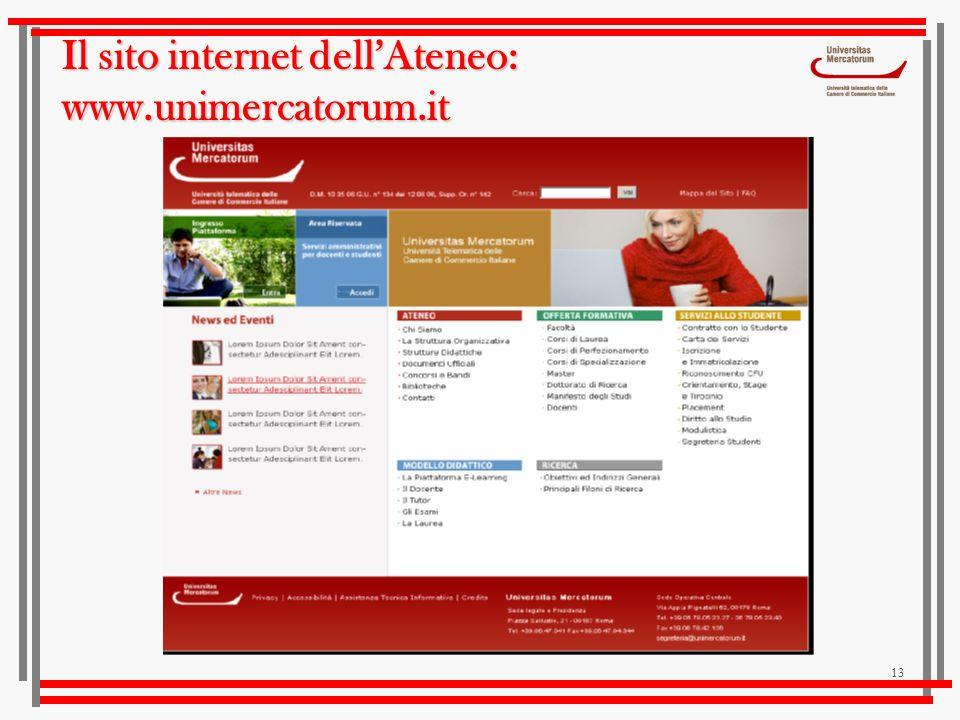 13 Il sito internet dellAteneo: www.unimercatorum.it