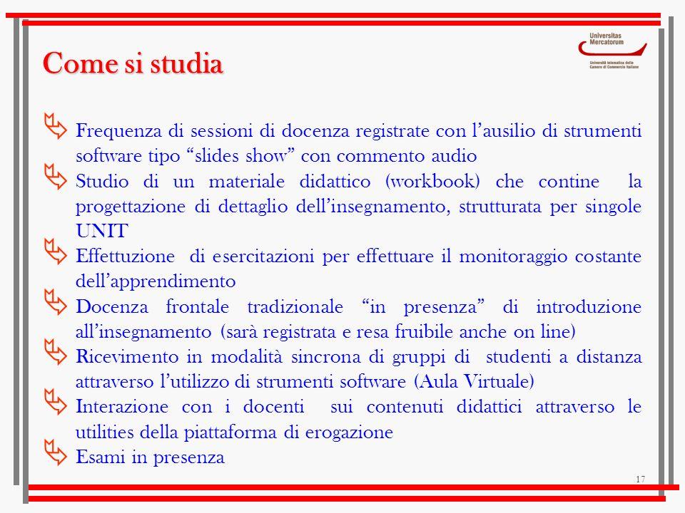 17 Come si studia Frequenza di sessioni di docenza registrate con lausilio di strumenti software tipo slides show con commento audio Studio di un mate